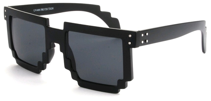 Eclipse Sunglasses Matte black Pixel frame with Smoke lens