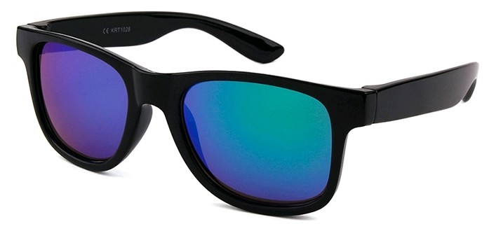 Eclipse Sunglasses Plastic Black frame with Blue-Green mirror lens