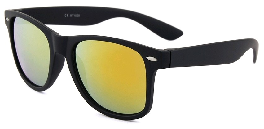 Eclipse Sunglasses Plastic Matte black frame with Gold-Red mirror lens